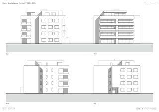 Fassaden und Schnitt 1: 250 Arealbebauung Kirchbühl von Della Casa AG Architekten SIA