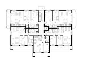 Grundrisse Haus 1 und 2 Überbauung Visp West von Balzani Diplomarchitekten ETH SIA SWB