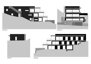 Fassaden Terrassenhaus Hubelstrasse Sempach-Stadt von Hadorn Architekten