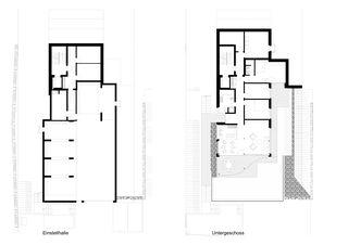 Einstellhalle/Untergeschoss Terrassenhaus Hubelstrasse Sempach-Stadt von Hadorn Architekten