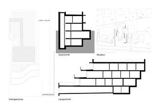 Dachgeschoss/Schnitt/Situation Terrassenhaus Hubelstrasse Sempach-Stadt von Hadorn Architekten