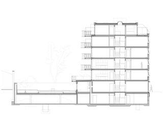 Schnitt Neubau Rotkreuzhaus von Forsberg Architekten AG