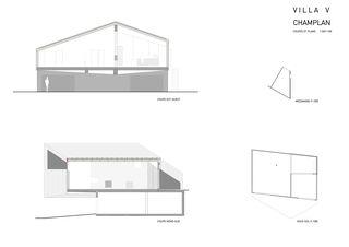 Schnitte, Pläne, UG und Mezzanin Villa V à Champlan en Valais von Raphael Hilan architecte EPFL