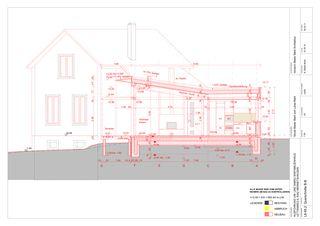 Querschnitt Neubau 1:50 Um-/Anbau EFH Stickerhäuschen von mmarch - Mader Marti Architektur ETH
