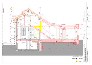 Querschnitt Altbau-Neubau 1:50 Um-/Anbau EFH Stickerhäuschen von mmarch - Mader Marti Architektur ETH