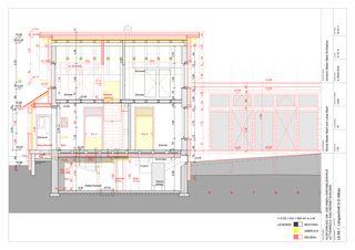 Längsschnitt Altbau 1:50 Um-/Anbau EFH Stickerhäuschen von mmarch - Mader Marti Architektur ETH