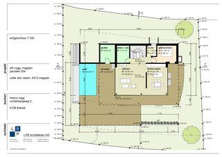 Grundriss EG Neubau EFH im Wygarten von LPB Architekten AG