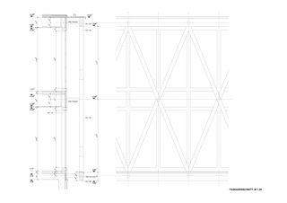 Fassadenschnitt Gewerbezentrum Punto Bregaglia, Vicosoprano von Architekturbüro Renato Maurizio