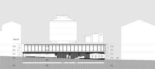 """elevation ouest Transformation des surfaces commerciales """"Les Galeries du Midi"""" à Sion (VS) von Hervé Savioz architecte epf sia"""