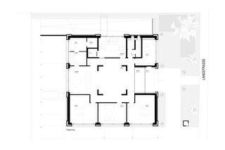 Erdgeschoss mit dem mehrgeschossigen Empfangsbereich und die Kundenbereiche. Bürogebäude Triesen de Bargetze + Partner Architekten SIA Anstalt