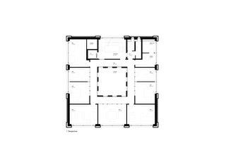 1. Obergeschoss mit Büroräumen. Bürogebäude Triesen von Bargetze + Partner Architekten SIA Anstalt