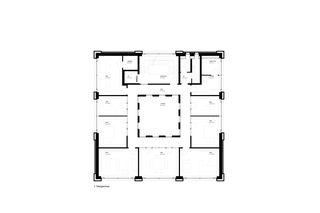2. Obergeschoss mit Büroräumen. Bürogebäude Triesen von Bargetze + Partner Architekten SIA Anstalt