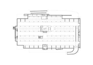 Pianta piano interrato con autorimessa pubblica COC - Centro Commerciale Chiasso - Chiasso de Ostinelli & Partners architetti