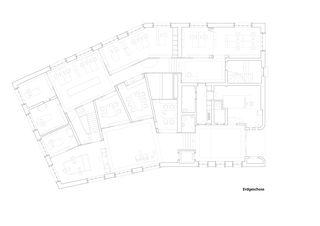 Grundriss Erdgeschoss - Innenliegende Beratungszimmer Raiffeisenbank von Huber Waser Mühlebach GmbH, dipl. Architekten ETH SIA