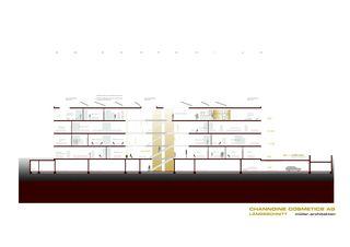 Längsschnitt Channoine Cosmetics AG, Verwaltungsgebäude von müller.architekten