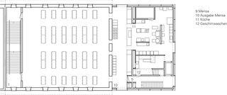 Grundriss 2.Obergeschoss Einbau Mensa Kantonsschule Wettingen von :mlzd