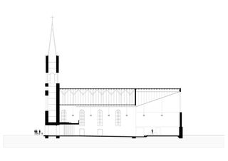 Coupe longitudinale 2010 Renovation und Neugestaltung Dorfkirche St. Nikolaus de Andreas Marti & Partner Architekten AG
