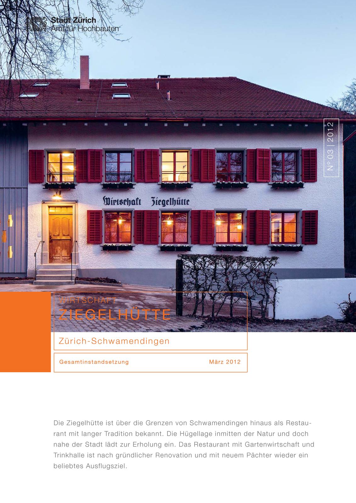 Umgebungsplan Gesamtinstandsetzung Wirtschaft Ziegelhütte, Zürich-Schwamendingen von KADEN ARCHITEKTEN / JUNOD EPPER GmbH Bauagentur