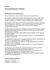 Projektbeschreibung Sportausbildungszentrum Mülimatt de Studio Vacchini architetti