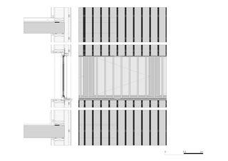 Schnitt Südfassade EG / 1.OG Bandfenster Gewerbebau Fluh von burkhalter sumi architekten