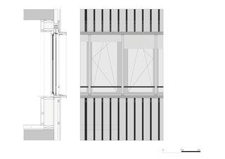Schnitt Südfassade 2.OG Bandfenster Gewerbebau Fluh von burkhalter sumi architekten