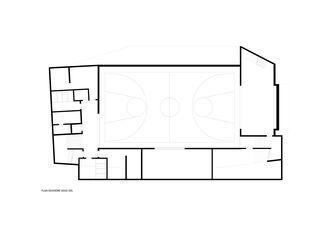 Plan niveau sous-sol 2 Salle de sport polyvalente Brillantmont International School von Frei Rezakhanlou SA architectes