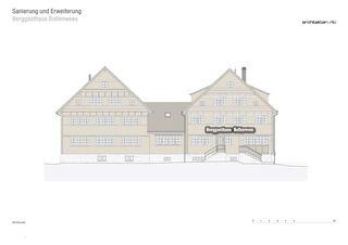 Westfassade Sanierung und Erweiterung Berggasthaus Bollenwees de RLC Architekten AG