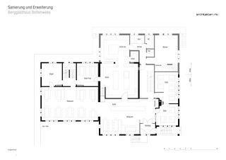 Grundriss Erdgeschoss Sanierung und Erweiterung Berggasthaus Bollenwees de RLC Architekten AG