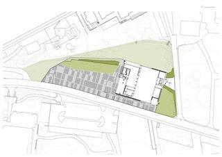 Situation 1:500 Neubau Stadthalle Laufenburg von Oliver Brandenberger Stephan Bührer Adrian Kloter Architekten