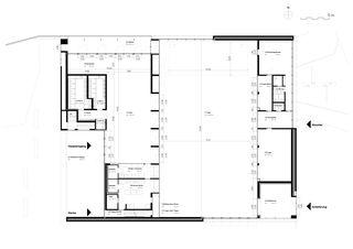 Grundriss Erdgeschoss Neubau Stadthalle Laufenburg von Oliver Brandenberger Stephan Bührer Adrian Kloter Architekten