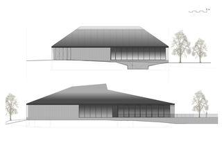 Ansichten Nord und Ost Neubau Stadthalle Laufenburg von Oliver Brandenberger Stephan Bührer Adrian Kloter Architekten