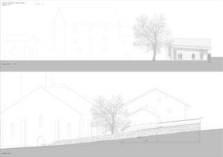 Ansichten Crypte _ le Châble _ Bagnes von hma Hugues Michaud Architecte