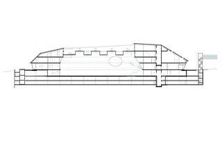 Längsschnitt Umwelt Arena von rené schmid architekten ag