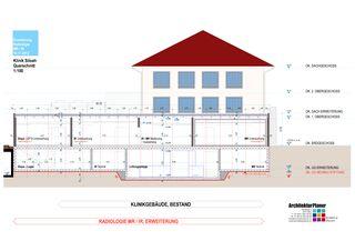 Querschnitt 1:100 Klinik Siloah Ärzte AG: Erweiterung der bestehenden Radiologie durch MR/IR von ArchitekturPlaner