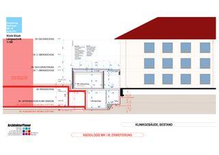 Längsschnitt 1:100 Klinik Siloah Ärzte AG: Erweiterung der bestehenden Radiologie durch MR/IR von ArchitekturPlaner