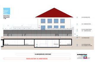 Süd-Ansicht 1:100 Klinik Siloah Ärzte AG: Erweiterung der bestehenden Radiologie durch MR/IR von ArchitekturPlaner