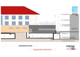 West-Ansicht 1:100 Klinik Siloah Ärzte AG: Erweiterung der bestehenden Radiologie durch MR/IR von ArchitekturPlaner