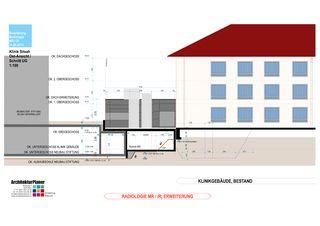 Ost-Ansicht 1:100 Klinik Siloah Ärzte AG: Erweiterung der bestehenden Radiologie durch MR/IR von ArchitekturPlaner