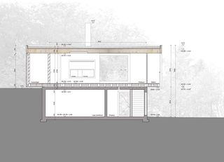 Längsschnitt mit Baumstämmen Trublerhütte, Schlieren von Rossetti+Wyss Architekten AG
