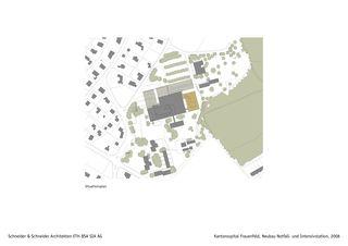 Situationsplan Kantonsspital Frauenfeld, Neubau Notfall- und Intensivstation von Schneider & Schneider Architekten ETH BSA SIA AG