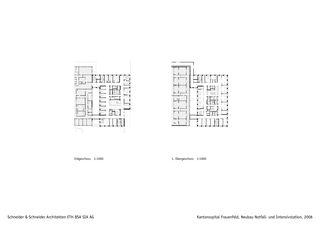 Grundrisse Kantonsspital Frauenfeld, Neubau Notfall- und Intensivstation von Schneider & Schneider Architekten ETH BSA SIA AG