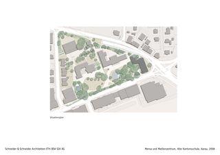 Situation Mensa und Medienzentrum, Alte Kantonsschule, Aarau de Schneider & Schneider Architekten ETH BSA SIA AG