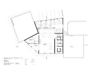 Erdgeschoss Geschäftshaus Raiffeisenbank Region Visp von VOMSATTEL WAGNER ARCHITEKTEN ETH BSA SIA