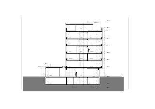 Querschnitt Geschäftshaus Raiffeisenbank Region Visp von VOMSATTEL WAGNER ARCHITEKTEN ETH BSA SIA