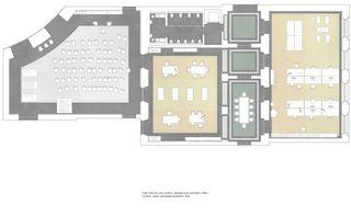 Grundriss Professur (inkl Kritikzone), 1OG, 1:50, A1 Neues D-ARCH im ETH Hauptgebäude von